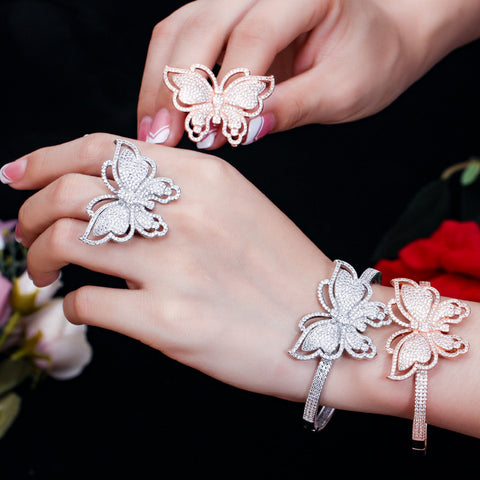 butterfly bangle and  ring jewelry sets Bracelets & Bangels