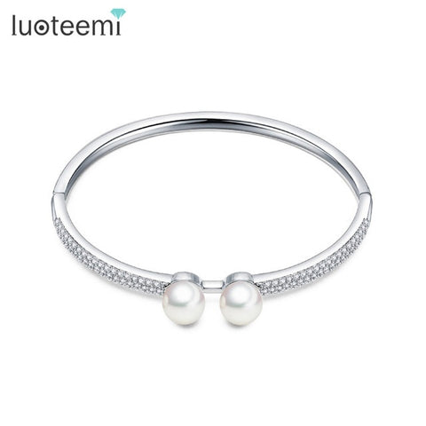 Korean Design White Gold Color Zircon Cuff Bracelet & Bangels