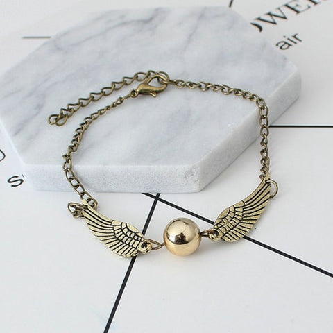 Angel Wing Golden Ball Charm Bracelet  Snitch Gold Bracelets & Bangels