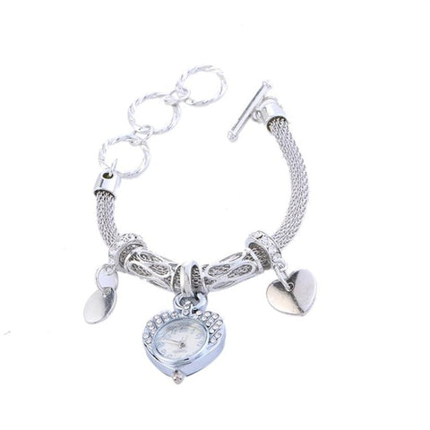 Stainless Steel Bracelet Watch Love Heart Shape Dial Quartz Wrist Watches Bracelets & Bangles