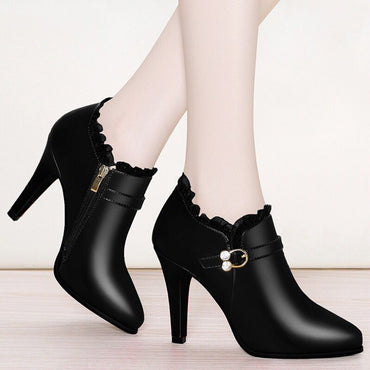 Lace Pointed Toe  Boots
