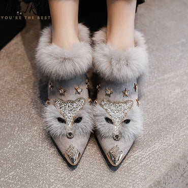 metal pointed toe glitter fur moccasins brand design ballet flats shoes