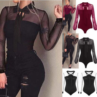 Long Sleeves Tulle Mesh Lace Patchwork Bow Bandage Bodysuit Leotard Tops Rompers