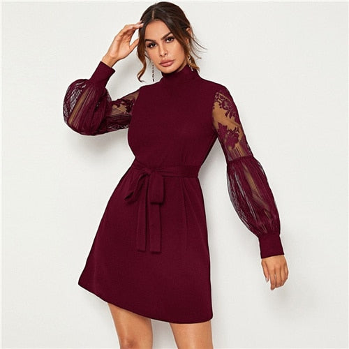 High Neck Contrast Lace Lantern Sleeve Elegant Dress