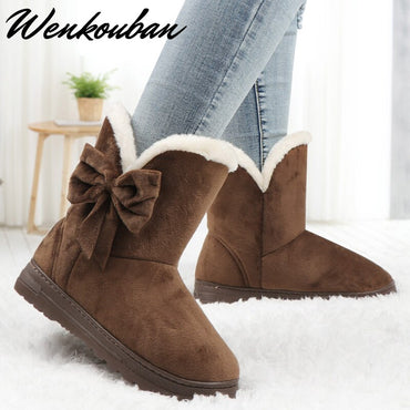 Butterfly Ankle Shoes Warm Plush Platform Black Boots
