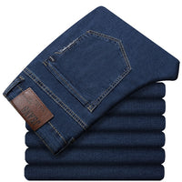 Classic Loose Elastic Trousers Business Casual Denim Jeans