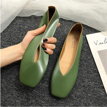 Square Toe Leather Ballet Flats Slip On Flat Shoes