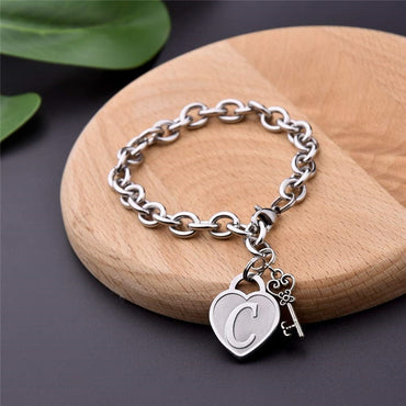 Charm Initial Heart Pendant Lobster Clasps O Chain Bracelet and Bangle