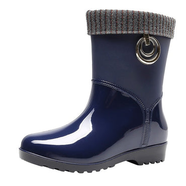 Punk Style Mid-Calf Rubber Winter Warm Snow Boots