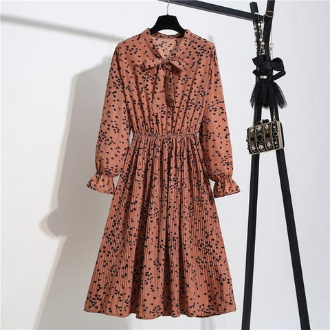 Floral Long Sleeve Polka Elastic Waist Leopard Vintage Pleated Collar Dress
