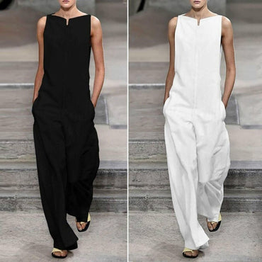 Solid Color Loose Cotton Minimalist Jumpsuit Casual Sleeveles Rompers