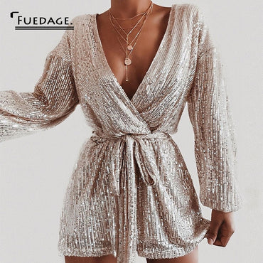 Sequined Sexy Jumpsuit V Neck Puff Sleeve Sparkle Glitter Jumpsuit Romper
