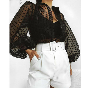 White Transparent Sexy  Hollow Sheer Mesh Puff Sleeve Blouse