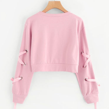 Casual Lace Up Long Sleeve Pink Bandage Pullover Cropped Top
