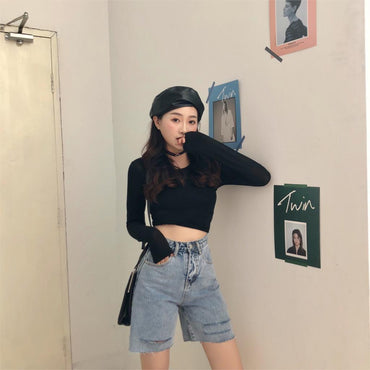 Loose Stylish High Waist Solid Fresh Denim shorts