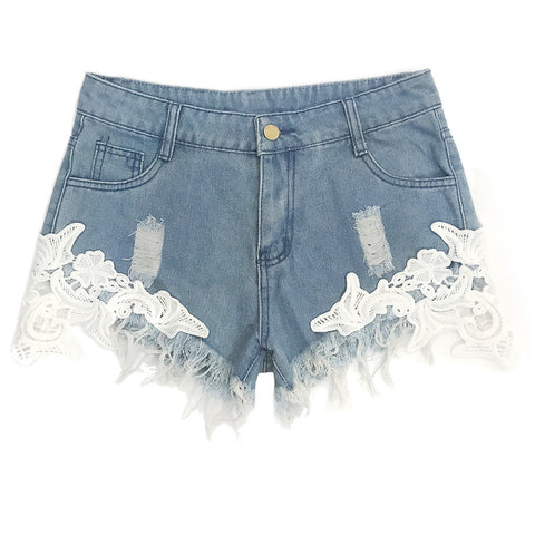 cotton Lace hole Splicing  Skinny Sexy super Denim shorts