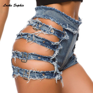 Cotton Bandage rivets Splicing \Skinny Sexy super Denim shorts