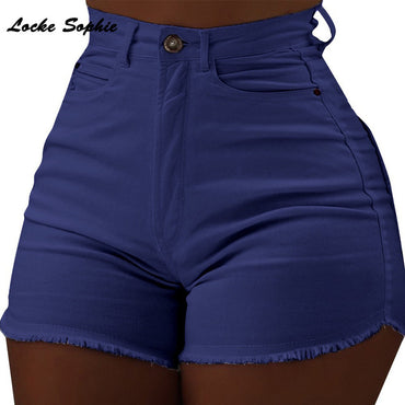 cotton Splicing broken hole Denim shorts