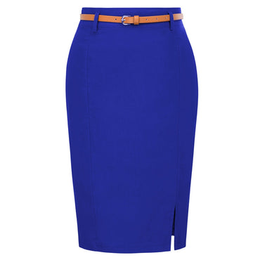 s Solid Color split Belt sashes Decorated Hip wrap Bodycon Skirt