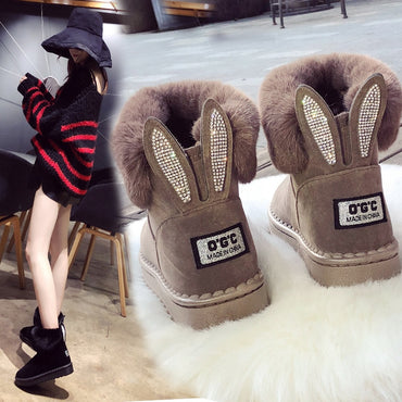 Leather Real  Warm Black Round Toe Casual Snow Boots