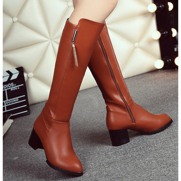 Pu Leather Knee  Boots