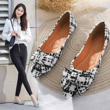 Plaid Butterfly-knot Mules Flat Shoes