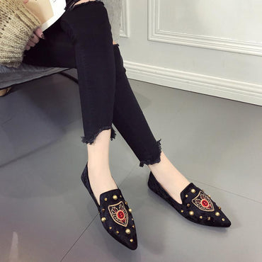 Embroidery Suede Shoes Soft Slip-on Flat Shoes