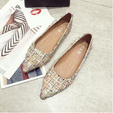 Plaid Pointed-toe Flat Shoes