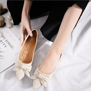 Solid Color Butterfly-knot Muller Flat Shoes