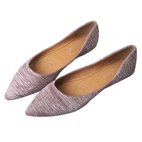 Pleated Solid Color Flat Shoes