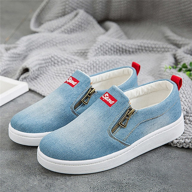 en Denim Flat Platform Classic Fashion Flat Shoes