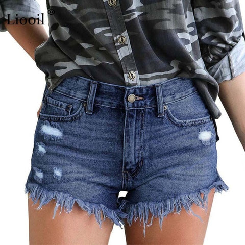 Mid Waist Cotton Sexy Rave Jean Short Fashion Button Pockets Tassel Denim Shorts