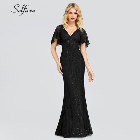 Short Sleeve V-Neck Bodycon Evening Party Dress