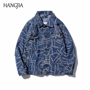 City Map Printing Denim Jacket