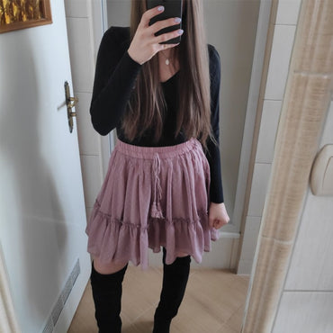High waist A line korean tassel pink skirt