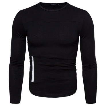 European Code Personality Zipper Decorative Round Neck Long-sleeved Casual Sports t-Shirt