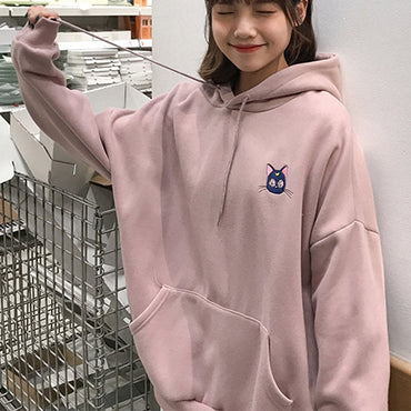 Moon Cat Pink Embroidered Hoodies
