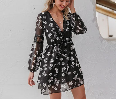 Sexy v-neck  floral holiday dress