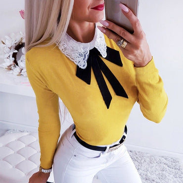 Elegant Embroidery Floral Side Shirt Pussy Bow Lapel Long Sleeve Vintage Slim Blouse