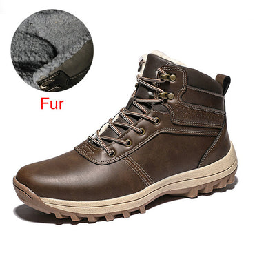 Leather Fur  Snow Boots