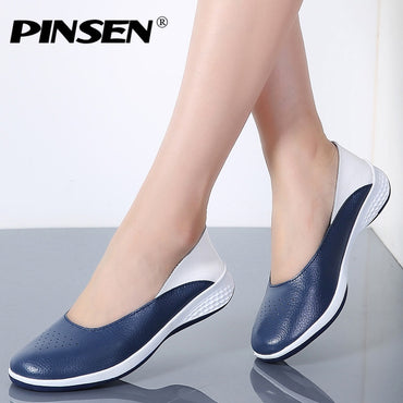 Hole Loafers Leather Moccasin Flat Shoes