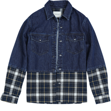 plaid coats patchwork double chest pocket cotton Denim Jackets