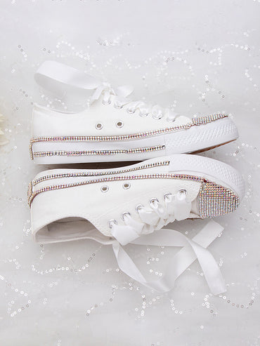 Breathable Platform White Soft Footwears Rhinestone Crystal Flats Ribbon Strap  Shoes & Sneakers