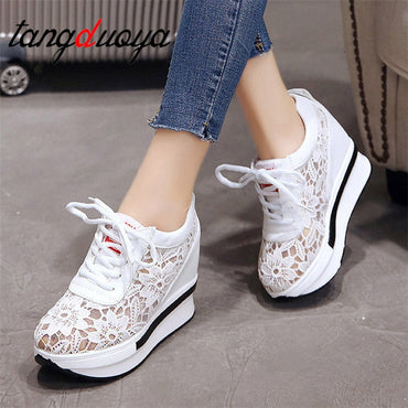 white platform wedge sneakers high heel  Shoes & Sneakers