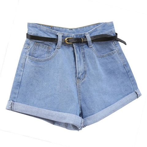 High Waisted Rolled Denim  Shorts