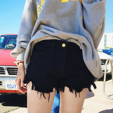 Button Denim Black Korean Vintage Wide Leg High Waist Loose Denim Shorts