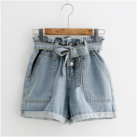 Elastic High Waist Denim Shorts