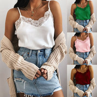 Sexy Lace Patchwork Shirt Spaghetti Strap Solid Color Vest Slim Top