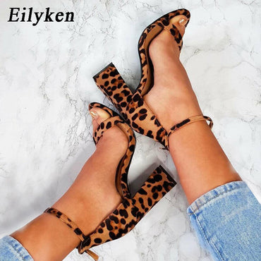 Peep-toe Buckle Strap Sandals Party Leopard Print Yellow Square High Heels