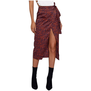 High Waist Bandage Leopard Printing Wrap Satin Bow Sexy Split Skirts